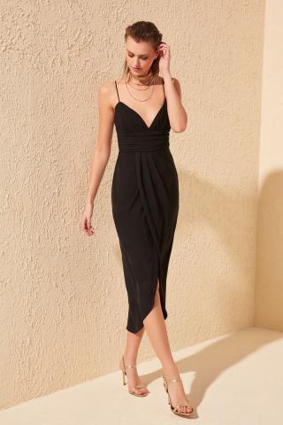 Trendyol Black Ribbed Detailed Dress dámské 42