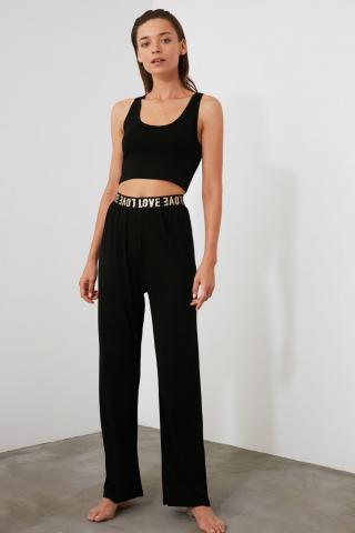 Trendyol Black Ribbon Accessory Detailed Knitted Pyjama Set dámské XS