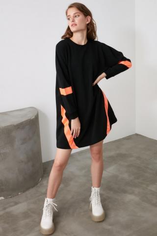 Trendyol Black Ribbon Detailed Oversize Knitted Dress dámské S
