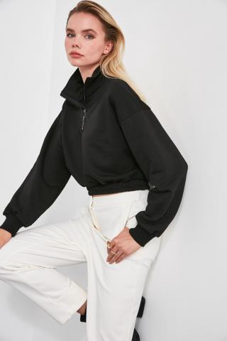 Trendyol Black Ruffle Detailed Crop Knitted Sweatshirt dámské XS