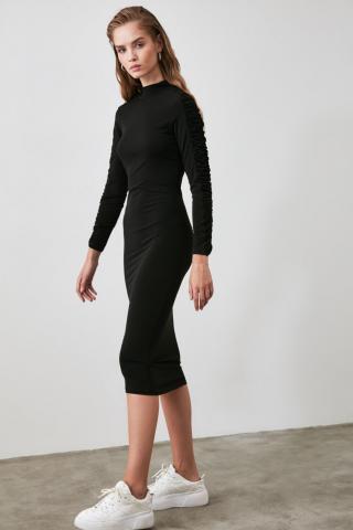 Trendyol Black Ruffle Detailed Upright Collar Knitting Dress dámské XS