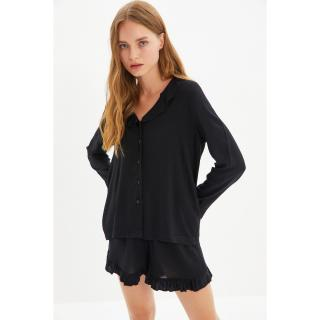 Trendyol Black Ruffle Detailed Woven Viscose Pajamas Set dámské Other 34