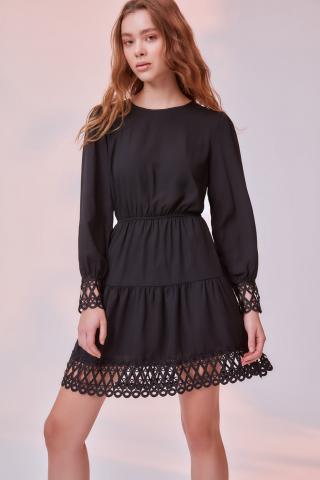 Trendyol Black Ruffled Dress dámské 34