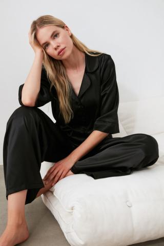 Trendyol Black Satin Pyjama Set dámské 34