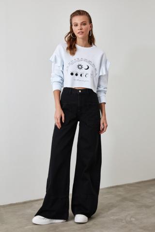Trendyol Black Seam Detail High Waist Wide Leg Jeans dámské 34
