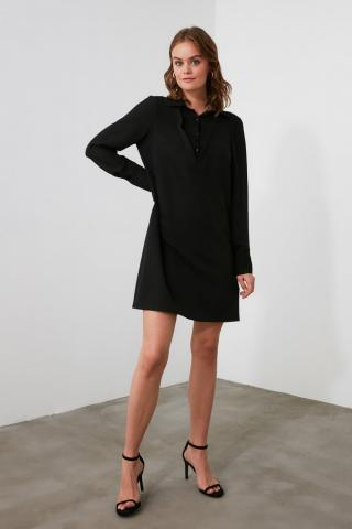 Trendyol Black Shirt Collar Dress dámské 34