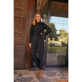 Trendyol Black Shirt Collar Jumpsuit dámské Other 36