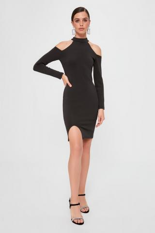 Trendyol Black Shoulder Detailed Dress dámské 38