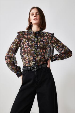 Trendyol Black Shoulder Detailing Shirt dámské 34