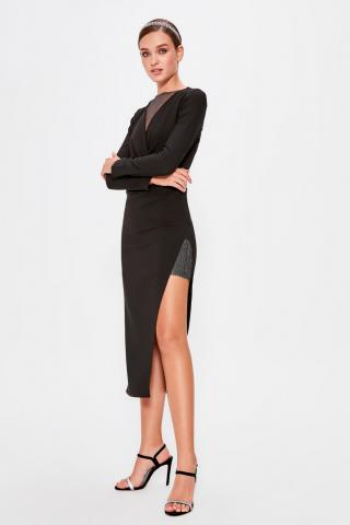 Trendyol Black Skirt Detailed Dress dámské 38