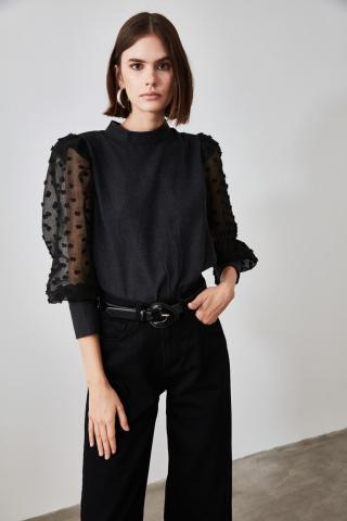 Trendyol Black Sleeve Detailed Blouse dámské 36