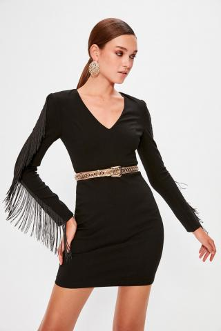 Trendyol Black Sleeve Detailed Dress dámské 34