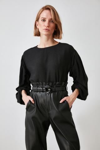 Trendyol Black Sleeves Smuz Blouse dámské 36