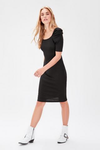 Trendyol Black Square Collar Knitted Dress dámské L