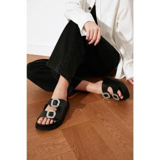 Trendyol Black Stone Buckle Womens Slippers dámské 36