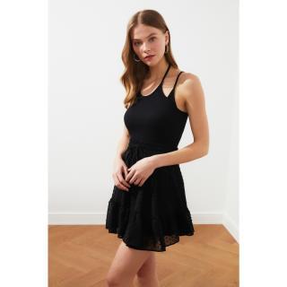 Trendyol Black Strappy Wick Crop Knitted Blouse dámské S