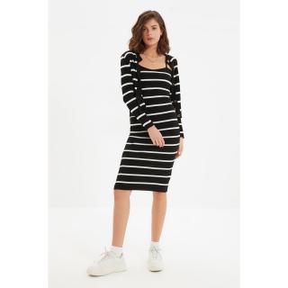 Trendyol Black Striped Dress-Cardigan Knitwear Suit dámské Other S
