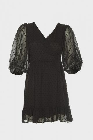 Trendyol Black Textured Fabric Anvelop Dress dámské 40
