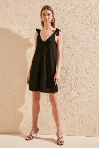 Trendyol Black tie detailed knitted dress dámské XS
