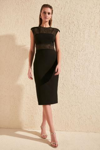 Trendyol Black Transparent Detailed Dress dámské 34