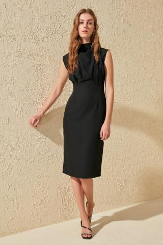 Trendyol Black Upright Collar Dress dámské 34