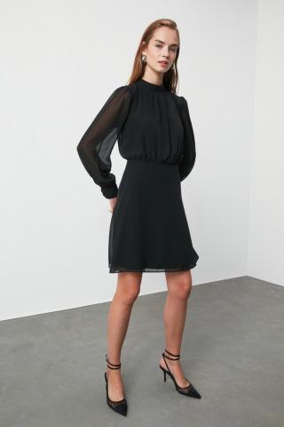 Trendyol Black Upright Collar Dress dámské 34