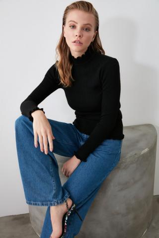 Trendyol Black Upright Collar Knit Sweater dámské S