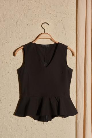 Trendyol Black Volan Blouse dámské 42