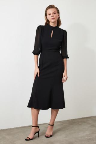 Trendyol Black Volli Collar Detailed Dress dámské 34