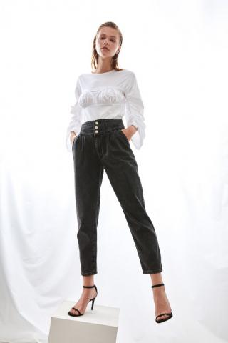 Trendyol Black Waist Detail Super High Waist Mom Jeans dámské 34