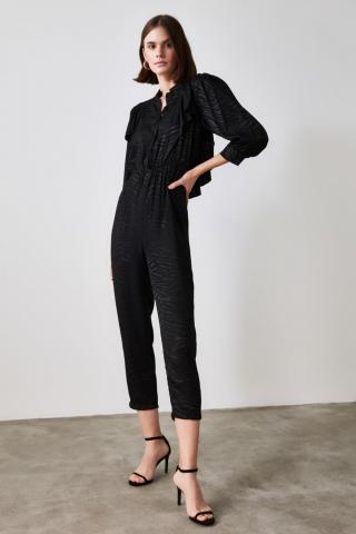 Trendyol Black Zebra Pattern Jumpsuit dámské 42