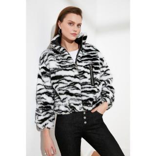 Trendyol Black Zebra Patterned Plush Coat dámské S