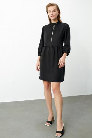 Trendyol Black Zipper Detail Dress dámské 34