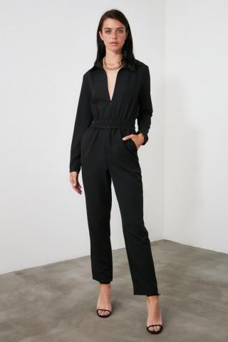 Trendyol Black Zipper Detailing Jumpsuit dámské 34