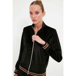 Trendyol Black Zipper Stand Up Velvet Knitted Sweatshirt dámské Other S