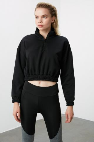 Trendyol Black ZipperEd Upright Neck Line Crop Knitted Sweatshirt dámské XS