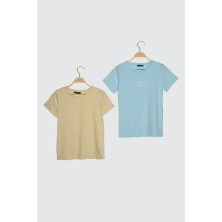 Trendyol Blue-Beige 2 Pack Basic Bicycle Collar Knitted T-Shirt dámské Mavi-Bej XS
