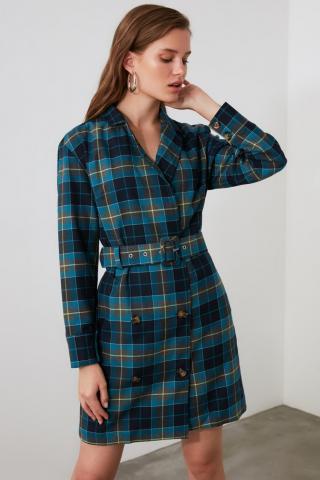 Trendyol Blue Belt Plaid Jacket Dress dámské Navy 34