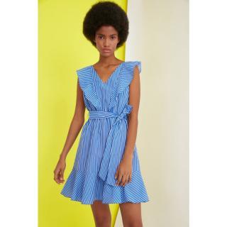 Trendyol Blue Belt Striped Dress dámské Navy 36