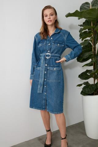 Trendyol Blue BeltEd Long Denim Dress dámské Navy 34