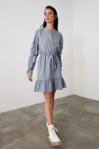 Trendyol Blue Binding Detailed Dress dámské Navy 34