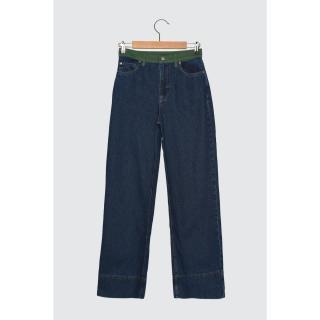 Trendyol Blue Block High Waist Wide Leg Jeans dámské Navy 34