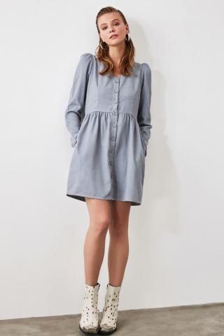 Trendyol Blue Button Detailed Dress dámské Navy 34