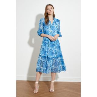 Trendyol Blue Button Detailed Ruffly Dress dámské Navy 34