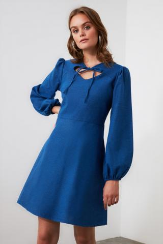 Trendyol Blue Collar Detailed Dress dámské Navy 34