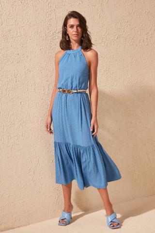Trendyol Blue Collar Detailed Dress dámské Navy 40