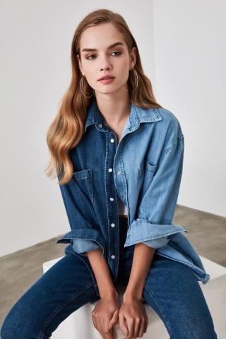 Trendyol Blue Color Blocked Oversize Denim Shirt dámské Navy S