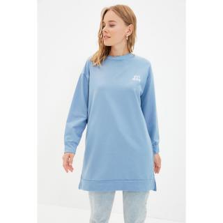 Trendyol Blue Crew Neck Printed Knitted Sweatshirt dámské Other S