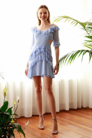Trendyol Blue Cut Out Detailed Dress dámské Navy 34