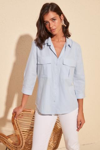 Trendyol Blue Double Pocket Shirt dámské Navy 42